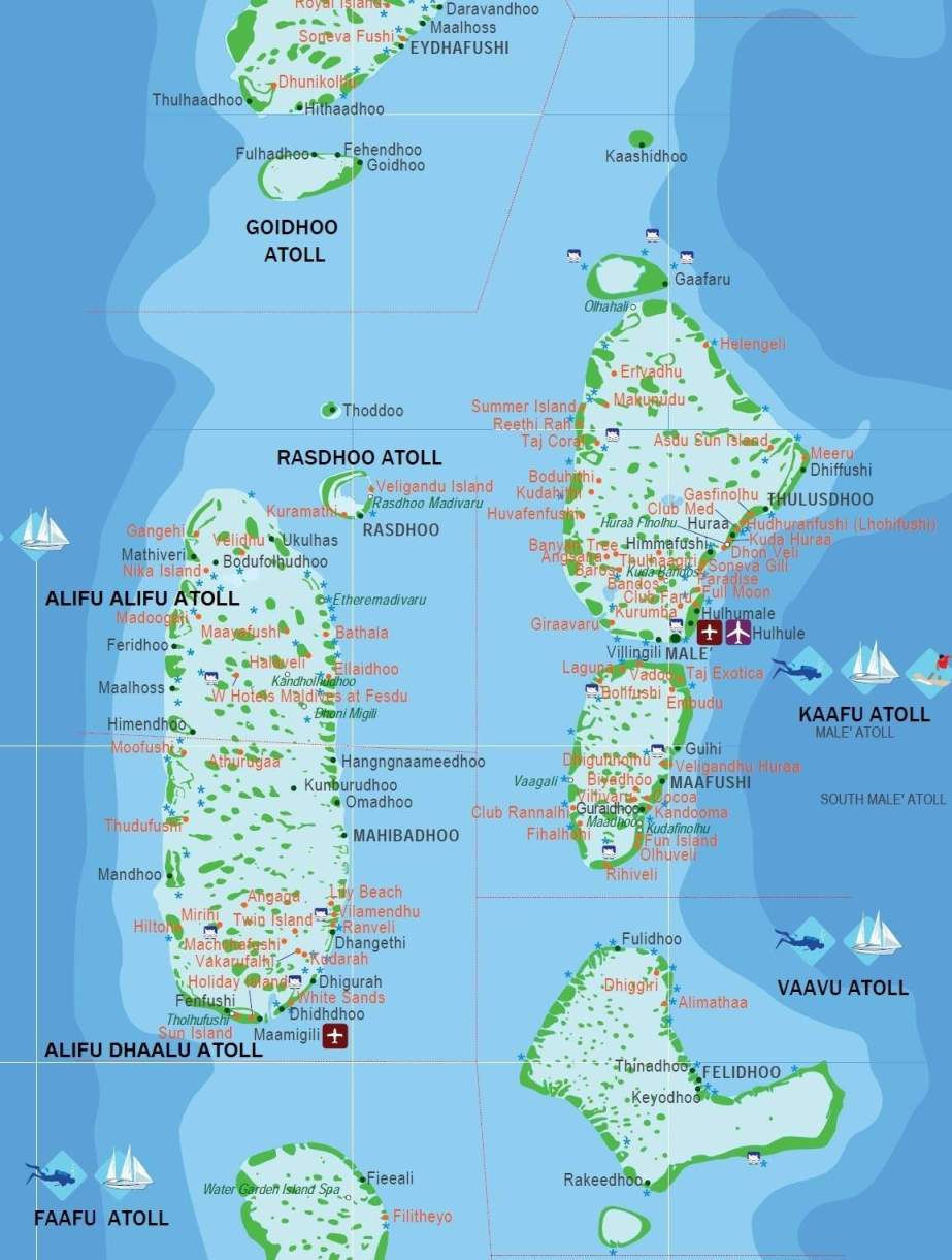 Maldiverne kort